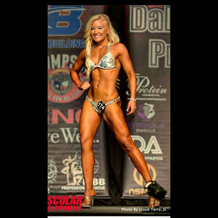 Cortnee White competing in bodybuilding shows.